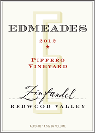 Edmeades 2012 Piffero Vineyard Zinfandel